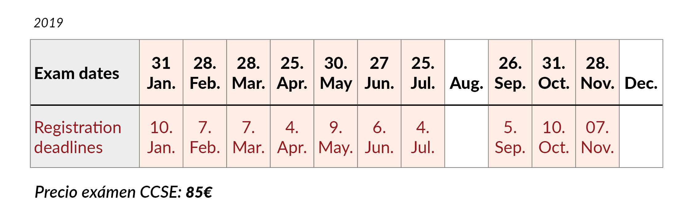CCSE exam dates 2019