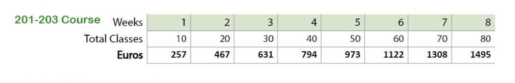 Spanish courses prices 201-203