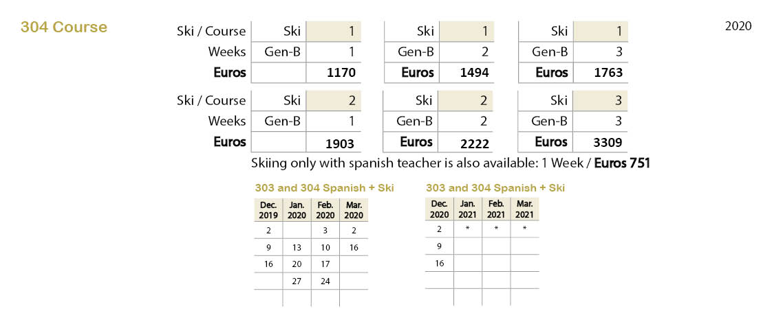 Spanish courses prices 304