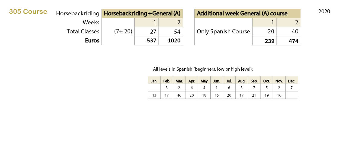Spanish courses prices 305