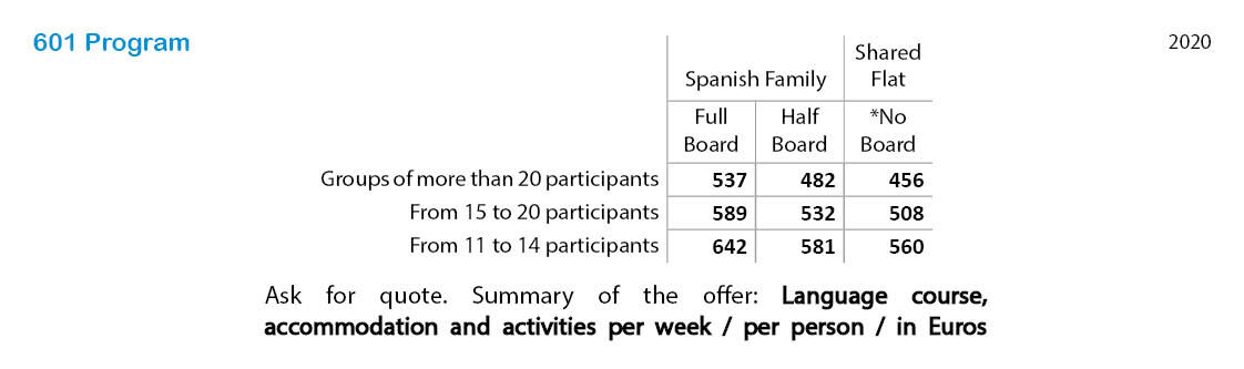 Spanish courses prices 601